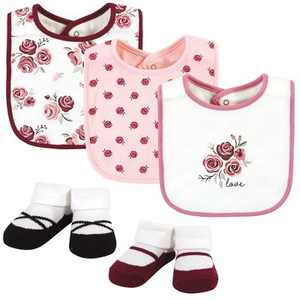 Hudson Baby Infant Girl Cotton Bib and Sock Set, Rose, One Size