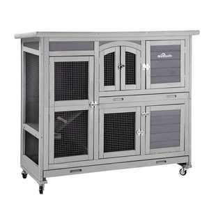 Aivituvin Wood Rabbit Hutch Bunny Cage with Wheel, Outdoor & Indoor
