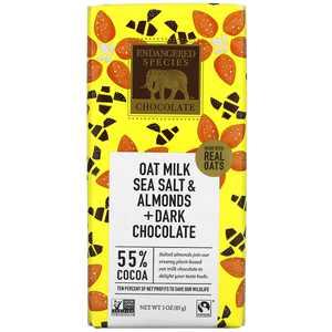 Endangered Species - Dark Chocolate Bar 55% Cocoa Oat Milk, Sea Salt & Almonds - 3 oz.
