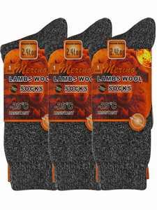 Mens 3-Pack Black Lambs Wool Mega Thermal Work Socks