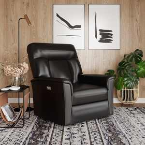 Relax A Lounger Nicolas Power Large Recliner, Faux Leather, Black
