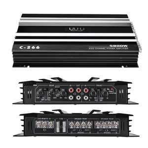 EIVOTOR 5800W 4 Channel High P ower Amplifier 12V 4Ohm Full R ange Car Stereo S uper Bass Audio Amp Speaker Audio Subwoofer Booster Metal Support 4 Speaker