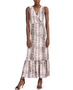 Petite Animal-Print Faux-Wrap Dress, Created for Macy's