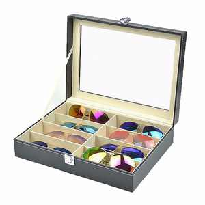 Leather Eyeglass Display Case for Oversized Sunglasses & Glasses Watch Organizer Collector Lockable Box