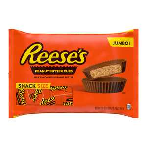 REESE'S, Milk Chocolate Peanut Butter Snack Size Cups Candy, Individually Wrapped, 19.5 oz, Jumbo Bag