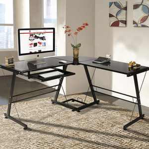 Ktaxon L-Shape Corner Computer Desk PC Glass Laptop Table Workstation,Black