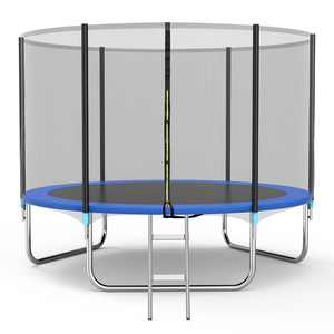Famistar 10FT Trampoline with Safety Enclosure Net, Spring Pad and Ladder, 330LBS Capacity for 4-5 Kids, Outdoor Exercise Fitness with Waterproof Jumping Mat for Teens and Kids