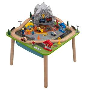 KidKraft Rocky Mountain Wooden Train Set & Table with 50 Pieces and Built-in Storage