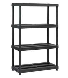 "Juggernaut Storage 36""W x 18""D x 56""H 4-Shelf Resin Shelving Unit, 600 lb Capacity Black"