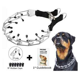 """LELINTA Dog Pinch Training Collar, Dog Training Stainless Steel Choke Chain Dog Collar,Adjustable Metal Steel Prong Pinch with Buckle,Training Dog Collar for Large Dogs,24"""""""
