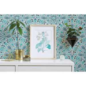 "Better Homes & Gardens Blue Peel and Stick Paisley Wallpaper, Soleil Fan, 18"" x 18.86'"
