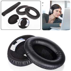 TSV boses Quiet Comfort QC2, QC15 Headphone Replacement Ear Pad + Headband Cover / Ear Cushion / Ear Cups / Ear Cover / Ear pads Repair Parts / Headband Protector (Black)