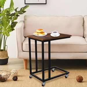 AUGIENB C-shaped Side Sofa Table Snack Table Coffee Tray End Table Couch Chair Side Table Nightstands PC Desk with Rolling Casters
