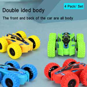 SAYFUT 4 Pack Friction Powered Car Toys Set, Double-sided Stunt Flip Inertia Car, Push and Go Toy Cars for Toddlers, Powered Pull Back Toys Vehicle 360 Rotation, Gifts for 3 4 5 6 7 8 Year Old Boy