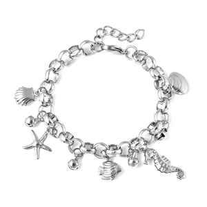 Shop LC Sea Friends Multi Charm Bracelet in Stainless Steel 7.00 inch