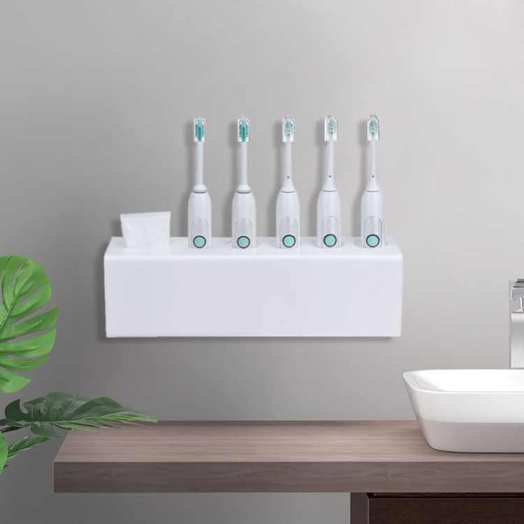 Wall Mounted Electric Toothbrush & Toothpaste Storage Holder Bathroom Organiser for Washroom Storage