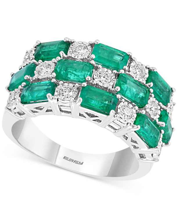 EFFY Emerald (2-5/8 ct. t.w.) & Diamond (1/3 ct. t.w.) Statement Ring in 14k White Gold