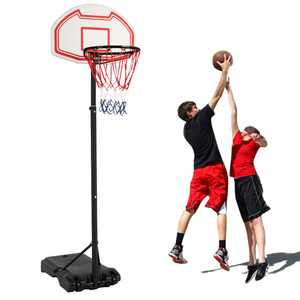 Zimtown 5.2ft - 6.9ft Height Adjustable Kids Junior Basketball Goal, Portable Basketball Hoop Stand Net Backboard System, with Wheels for Indoor/Outdoor Backyard Exercise