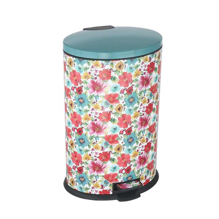 Pioneer Woman 10.5 gal Stainless Steel Breezy Blossom Oval Kitchen Garbage Can