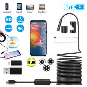 USB Type-C 360 Rotation Endoscope Camera, TSV 8 Adjustable LED Lights Borescope Inspection Snake Camera 16 FT Flexble Cable IP67 Waterproof Fit for Android 4.1-10/Windows(Vista/Win7/Win8)/Mac