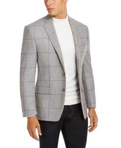 Men's Classic-Fit UltraFlex Stretch Light Gray Windowpane Sport Coat