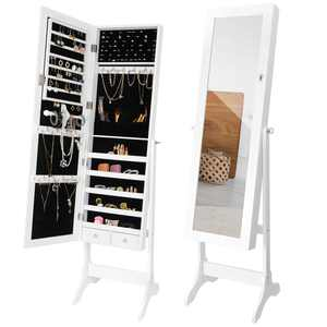 ZenStyle Full Length Mirror Jewelry Cabinet Free Standing Armoire Storage Organizer White