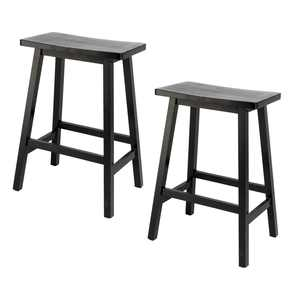 Zimtown 2pcs Saddle Bar Stools Kitchen Wooden Bar Chairs,Counter Stool with Foot Plate Black