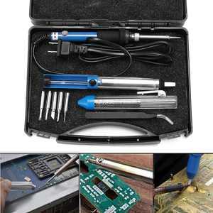 Kadell 60W 110V Electric Rework Soldering Iron Kit Adjustable Temperature Welding Starter Tool with 5 Different Tips ,Desoldering Pump, Tweezers, Solder Wire +Carry Case