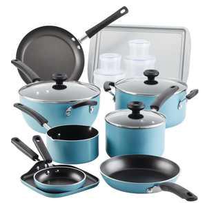 Farberware 20 Pc Easy Clean Aluminum Nonstick Cookware Pots and Pans Set,  Aqua