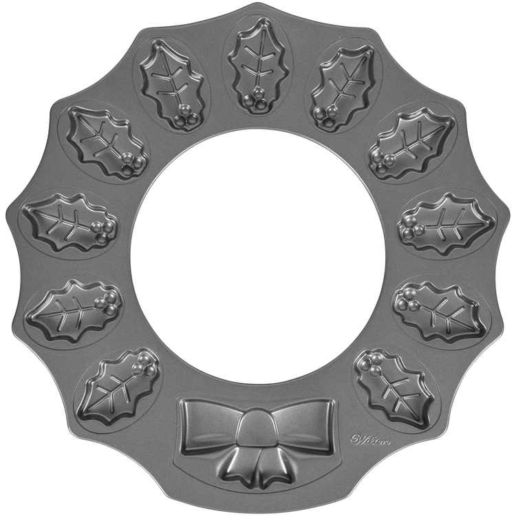 Wilton Non-Stick Holly Wreath Shaped Cookie Pan, 12-Cavity
