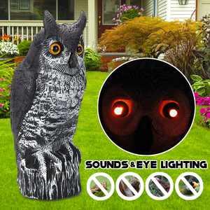 Kadell Fake Owl Decoy with Sounds & Glowing Eye, Garden Protector Bird Scare Pest Repellen Garden Ornament Battery Powered