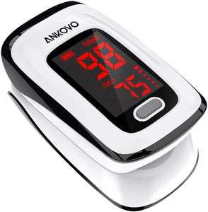 ANKOVO Pulse Oximeter Fingertip (Oximetro), Blood Oxygen Saturation Monitor, Heart Rate Monitor and SpO2 Levels