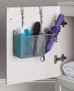 Steel Over the Cabinet Hairdryer Organizer, Silver