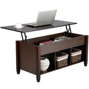 Modern Small Space Lift Top Coffee Table with 3 Storage Compartments, Espresso