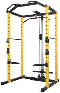 Everyday Essentials 1000-Pound Capacity Multi-Function Adjustable Power Cage with J-Hooks, Dip Bars and Other Optional Attachments