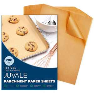 200 Pack Parchment Paper for Half Pan Cookies Baking Sheets, Precut Unbleached Oven Baking Paper, Brown, 12 x 16 in