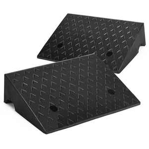 Costway 2 Pieces 5'' Rubber Car Curb Ramps for Vehicle Wheelchair Threshold Ramp 33000 lbs