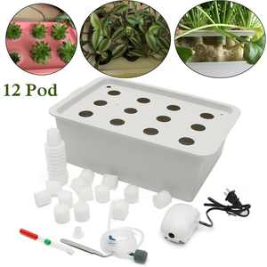 12 Holes Plant Site Hydroponic System Grow Kit Bubble Indoor Cabinet Box Garden US Plug