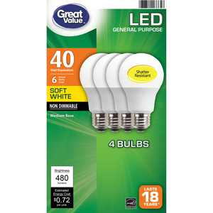 Great Value LED Light Bulb, 6 Watts (40W Equivalent) A19 General Purpose Lamp E26 Medium Base, Non-dimmable, Soft White, 4-Pack
