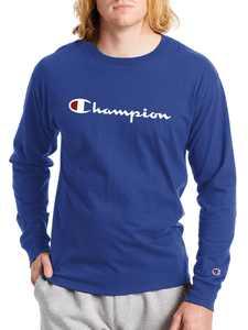 Champion Men's Script Logo Classic Graphic Long Sleeve T-Shirt