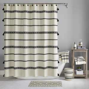 Boho Chic Cotton Shower Curtain, Beige, Black, Better Homes & Gardens, 72 x 72