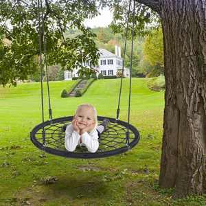 UBesGoo Saucer Tree Swing 40 inch Round 220 lbs Seating Capacity Porch Swing Black