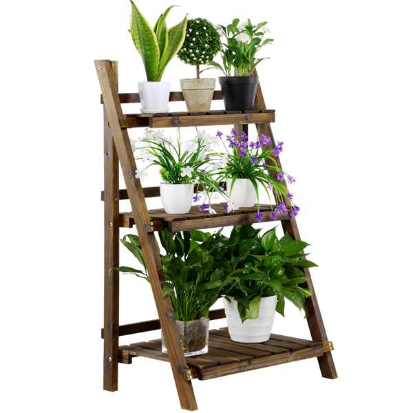 Easyfashion 3-Tier Folding Wooden Ladder Shelving Flower and Plant Display Stand