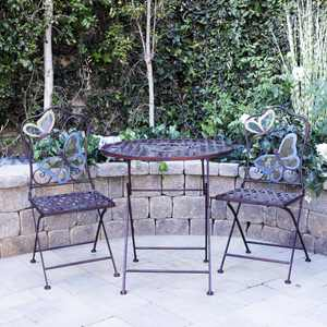 Alpine Butterfly Outdoor Patio Bistro Set, Metal 3-Piece Set