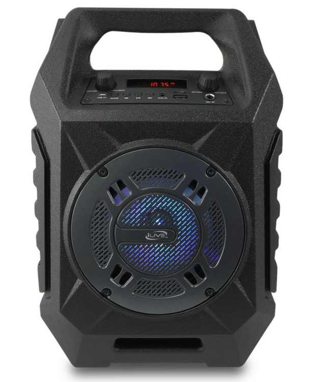 Bluetooth Tailgate Speaker with 35' Range, FM Tuner, Speaker LED Lights Show