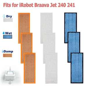TSV 9PCS Washable Mopping Pads Replacement for IRobots Braava Jet 240 241 Sweeping Pads, Reusable Wet Damp Dry