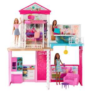 Barbie Dollhouse and Furniture Set With 3 Dolls, Gift For 3 To 8 Year Olds