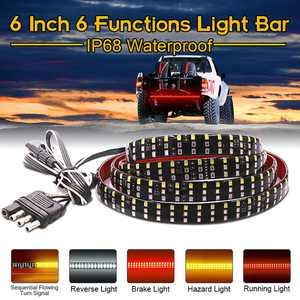 6-Functions 60'' Triple Row LED Tailgate Reverse Brake Signal Light Bar Strip Truck IP68 Waterproof 12V