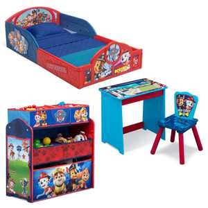 Nick Jr. PAW Patrol 4-Piece Room-in-a-Box Bedroom Set by Delta Children - Includes Sleep & Play Toddler Bed, 6 Bin Design & Store Toy Organizer and Art Desk with Chair