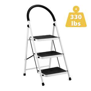3 Step Ladder, Folding Step Stool with Steel Wide Anti-Slip Pedal and Handgrip